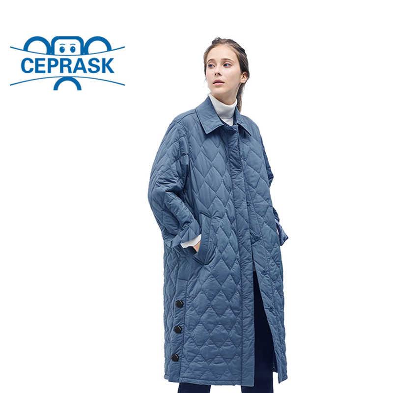 Новинка 2019, высокое качество, весна-осень, женские парки, ветрозащитные, стеганые, теплые, тонкие, женские пальто, длинные размера плюс, хлопковые куртки CEPRASK