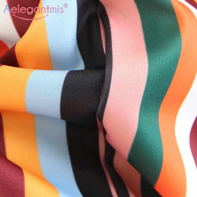 Aelegantmis сезон: весна–лето элегантные в радужную полоску Для женщин Длинная юбка эластичный Высокая талия Нерегулярные Макси юбка Дамы Повседневное юбки
