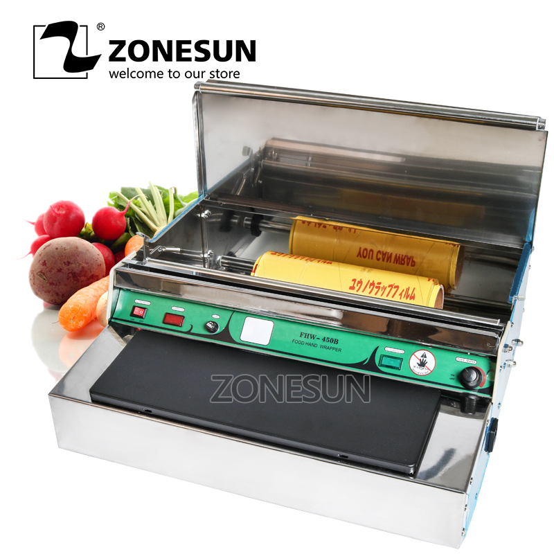 ZONESUN Stainless steel cling film sealing machine,Food fruit vegetable fresh film wrapper, cling film sealer packaging