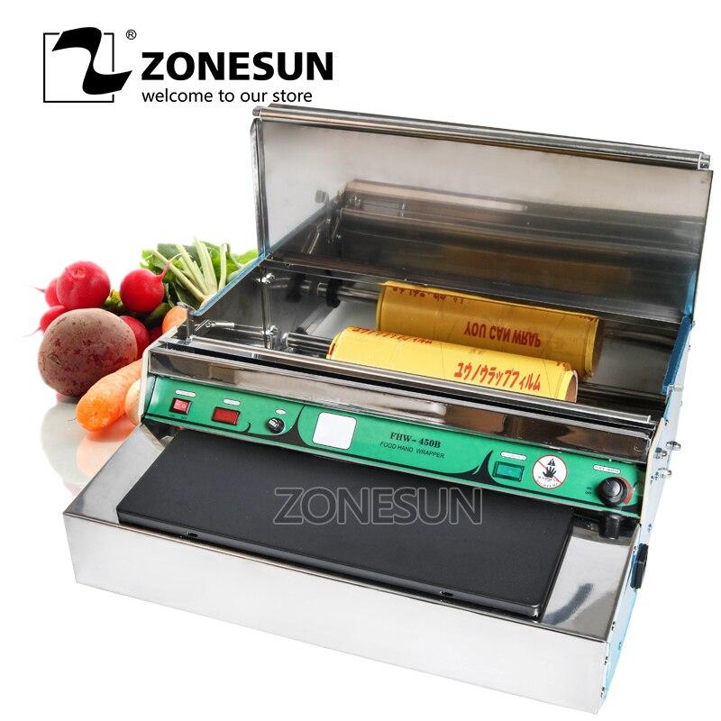 ZONESUN en acier Inoxydable film d'étanchéité machine Alimentaire fruits légumes frais emballage sous film, film scellant d'emballage