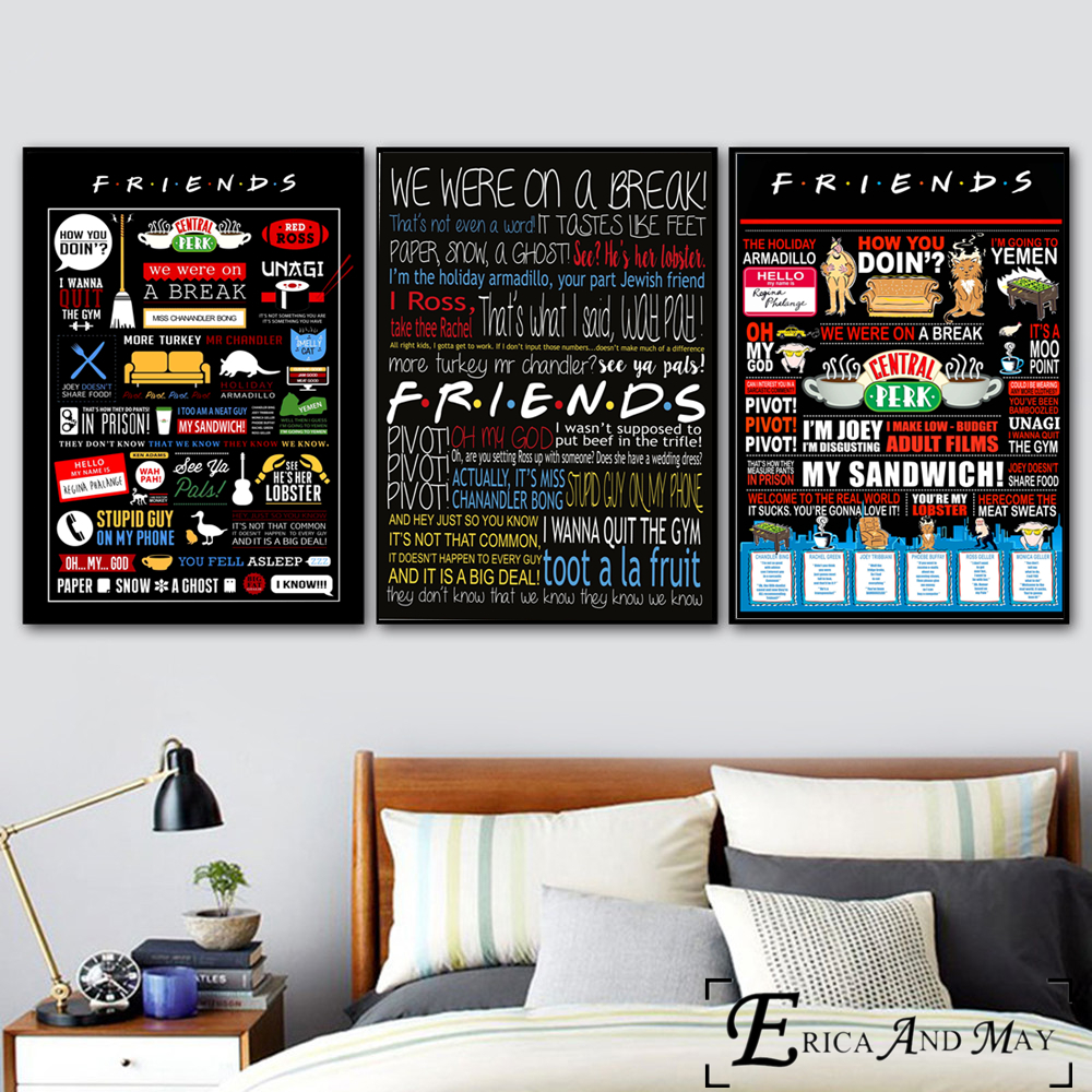 HTB1NelZXdjvK1RjSspiq6AEqXXaM Friends TV Show Classic Quote Posters and Prints Wall art Decorative Picture Canvas Painting For Living Room Home Decor Unframed