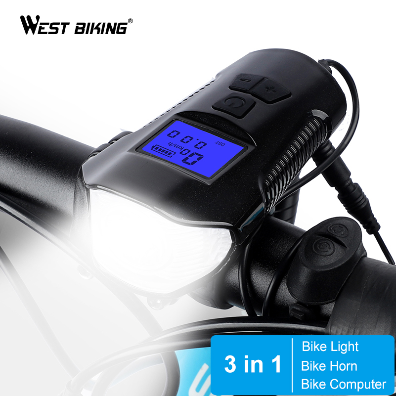 LED Bicycle Bike Front Light With Horn Bell Headlight Lamps For Cycling Riding