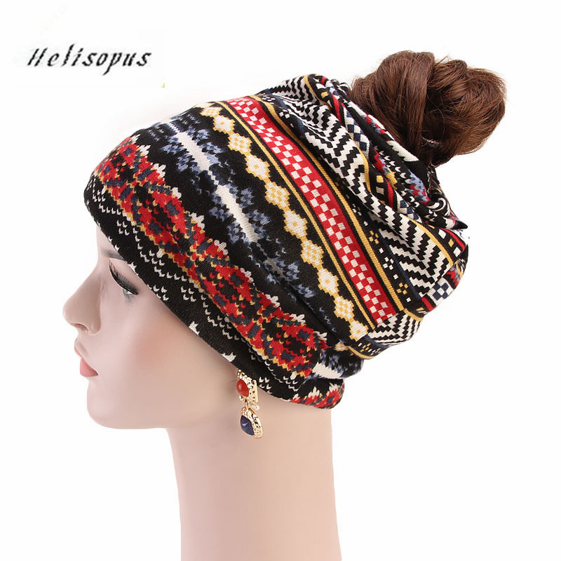 Helisopus 2019 Women Warm Autumn Winter Print   Beanie     Skullies   Ponytail Bandana Turban Hat Ladies Baggy Hat Casual   Beanies
