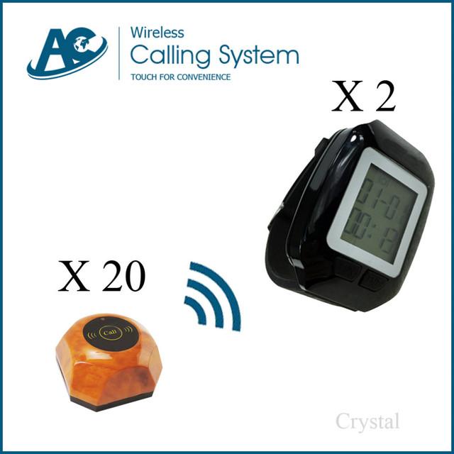 2 reloj 20 sistema de botón de llamada de timbre eléctrico Campana de la Tabla Impermeable Mesa de Restaurante Wireless sistema de llamada al cliente sistema de pedidos
