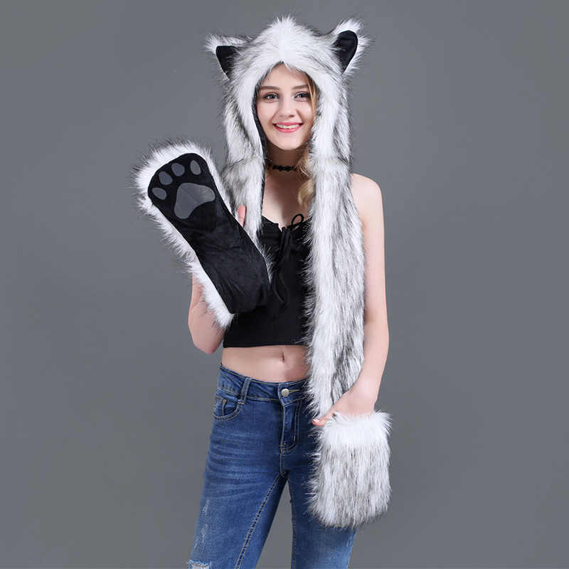 Animal Hoodie Hat Scarf Gloves Faux Fur Mittens 3-in-1 Function Furry Hoodie with Paws Ears