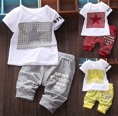 2016 Newest Baby Boy Kids Summer Short Sleeve Star Printed Shirt Sportswear T-shirt Top+Plaid Short Pants Clothes Outfit 0-4 Y new hot sale 2016 korean style boy autumn and spring baby boy short sleeve t shirt children fashion tees t shirt ages