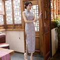 2017 Chinese Wedding Dress Female Long Short Sleeve Cheongsam Lace Slim Chinese Traditional Dress Women Qipao for Wedding Party