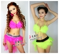 (bra+short+skirt) Ds set costume sexy female dj performance wear stage clothes jazz black jewel women dress Christmas bar party