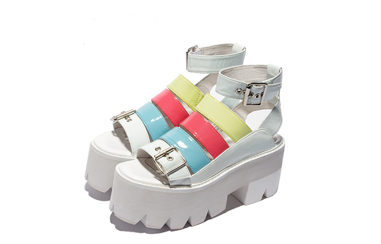 Female Waterproof High Heels Fish Mouth Shoes Color Belt Buckle Casual Comfortable Sandals Thick heel sexy shoes