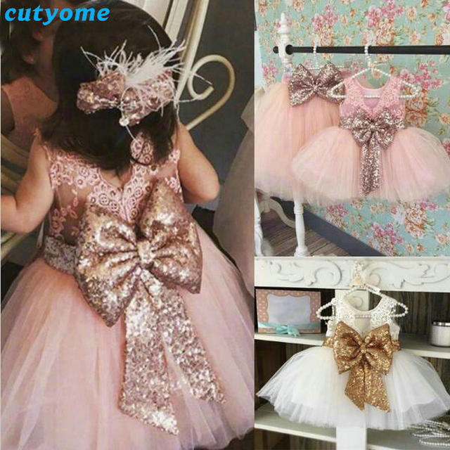 0500085325e4 2017 Kids Girls Princess Lace Dress With Bow Party Wedding ...