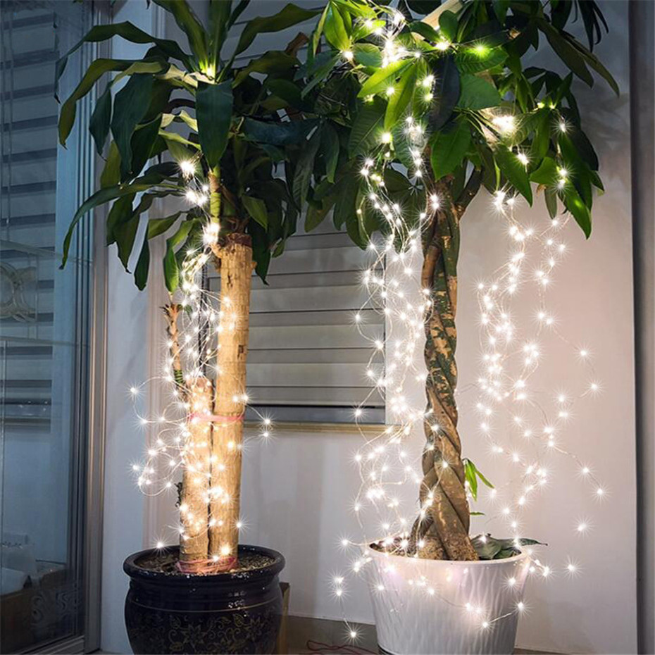 Led Vine Lights 14 Copper Wire Branches 2m 280leds Fairy String Lights For Room Christmas Tree Party Decoration Safety 12v Plug