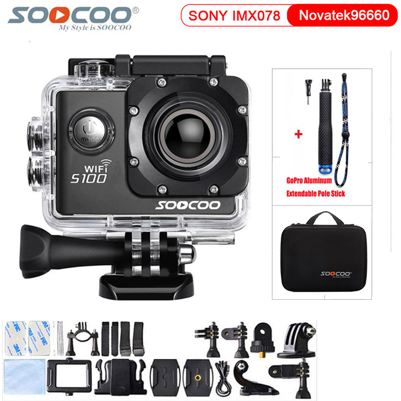 Original SOOCOO S100 4K 24fps 2K 30fps Wifi 20MP Waterproof 30m Gyro Mini Sports Action Camera DV Support Extended GPS Module цены