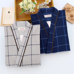 Image 3 - Traditional Men Japanese Pajamas Sets 100% Cotton Simple Kimono Yukata Nightgown Sleepwear Bathrobe Leisure Wear Lover Homewear
