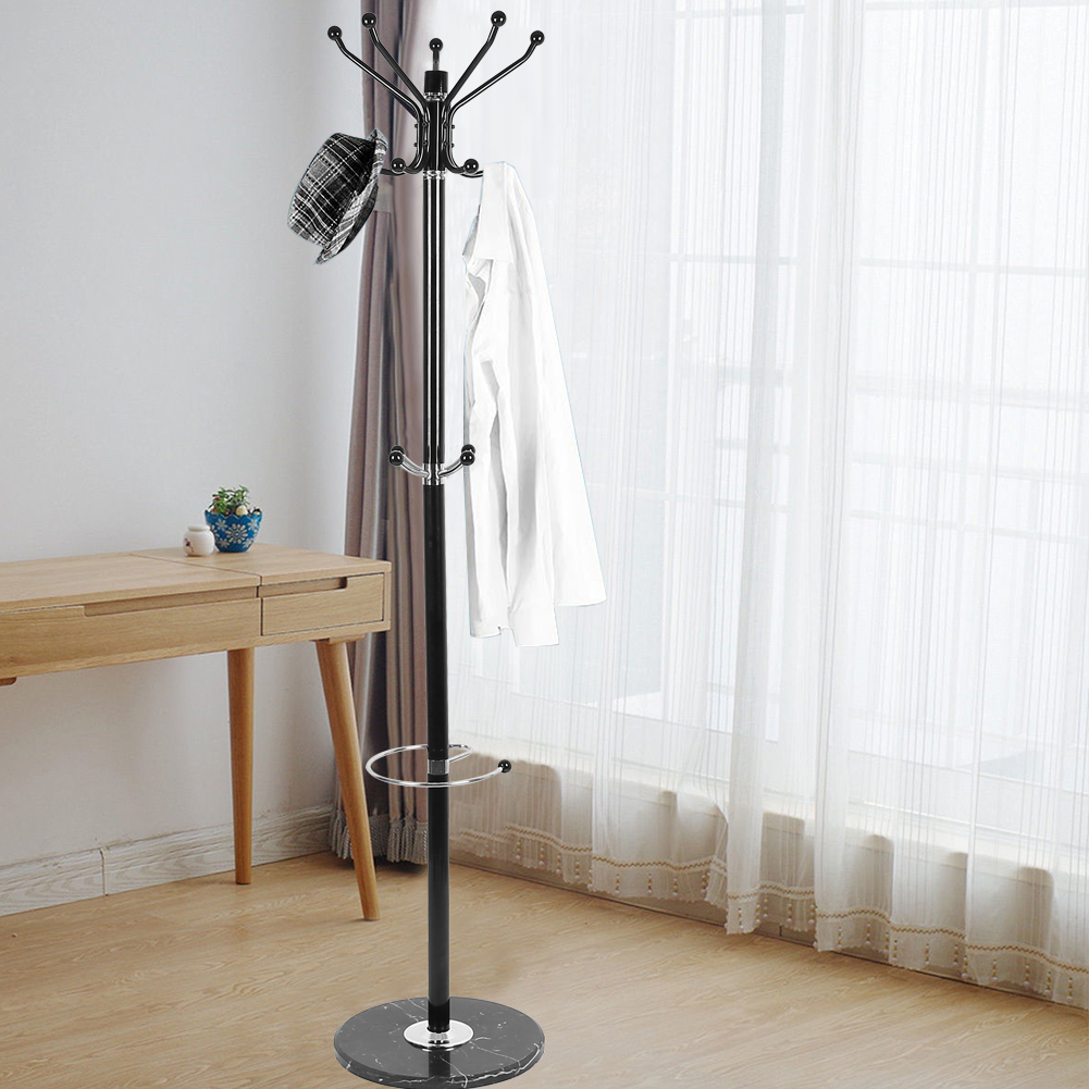 Hot Sell Tree Style Hat Coat Clothes Rack Hanger Metal Umbrella Stand Base Chromium plated metal Hooks With Marble base HWC