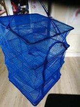 4 Layers Drying Net Cast Net Drying Rack Folding Hanging Vegetable Fish Dishes Dryer Net PE Hanger Fishing Net 40 x 40 x 68cm