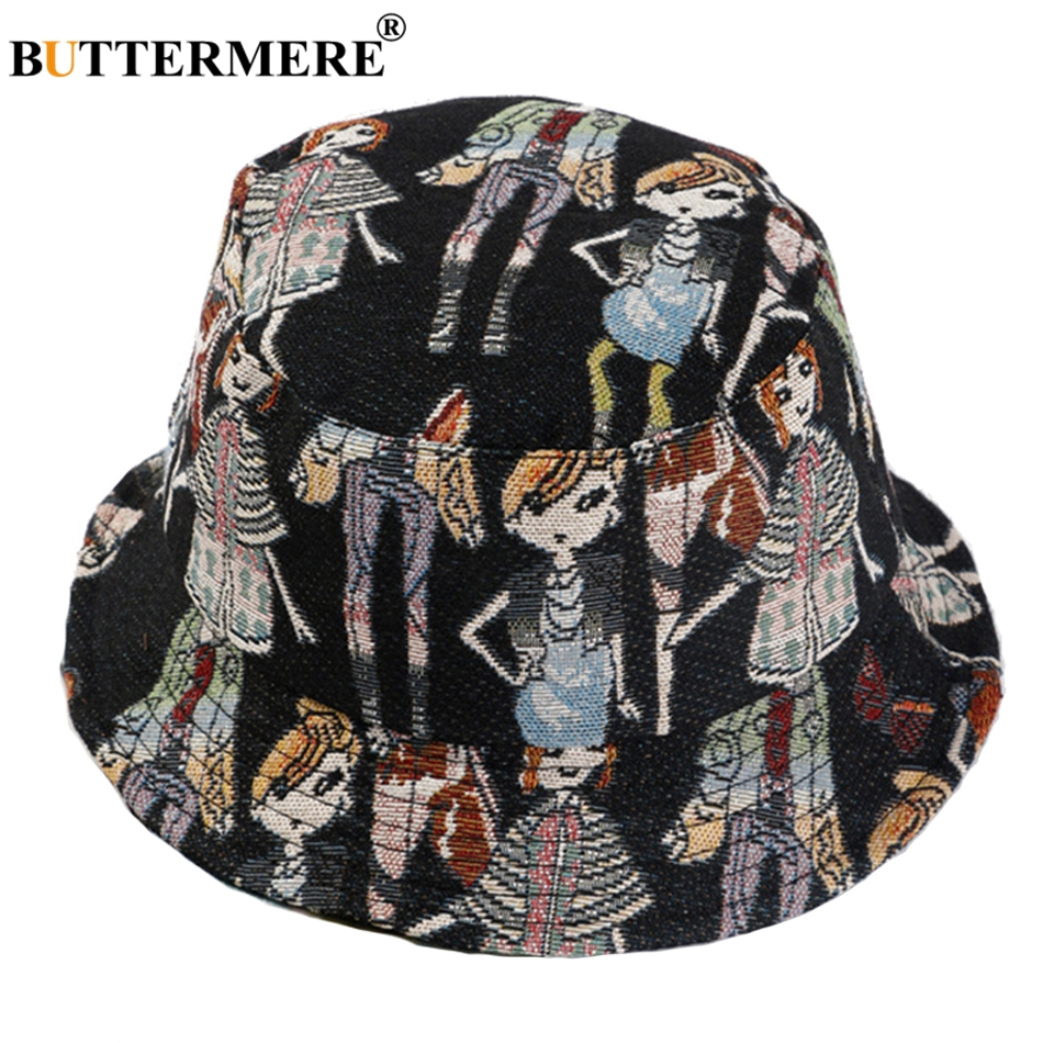 Buttermere Bucket Hats For Ladies Cartoon Print Cotton Summer Hats For Women Fashion Black Adjustable Female Bucket Hip Hop Crazy Price