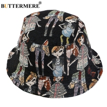 BUTTERMERE Bucket Hats For Ladies Cartoon Print Cotton Summer Women Fashion Black Adjustable Female Hip Hop