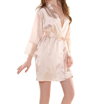 Letnia sukienka jedwabne szaty piżamy damskie Sexy szlafrok szlafroki dla kobiet bielizna nocna piżamy nocne szlafroki tanie i dobre opinie WOMEN Krótki Wiosna Stałe Powyżej kolana Mini Faux Silk NoEnName_Null 2222 Satyna Faux jedwabiu Poliester