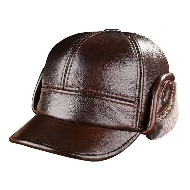 Высокое качество кожа бейсболки подходит для мужчин среднего возраста сплошной цвет шапки осень зима уха защита теплую Snapback