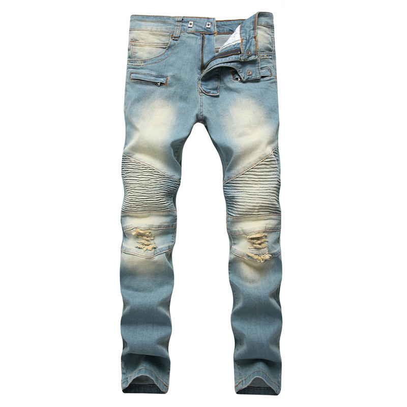 2018 Autumn men ripped jeans slim fit denim pants tiedye jeans men pleated motorcycle biker jeans hip hop strech for man