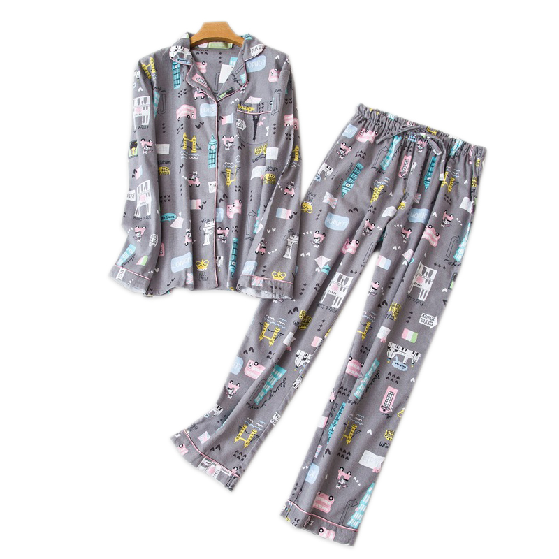 Winter 100% cotton sleepwear   pajama     set   women home clothing Autumn cute cartoon print casual pyjamas for women sleepwear