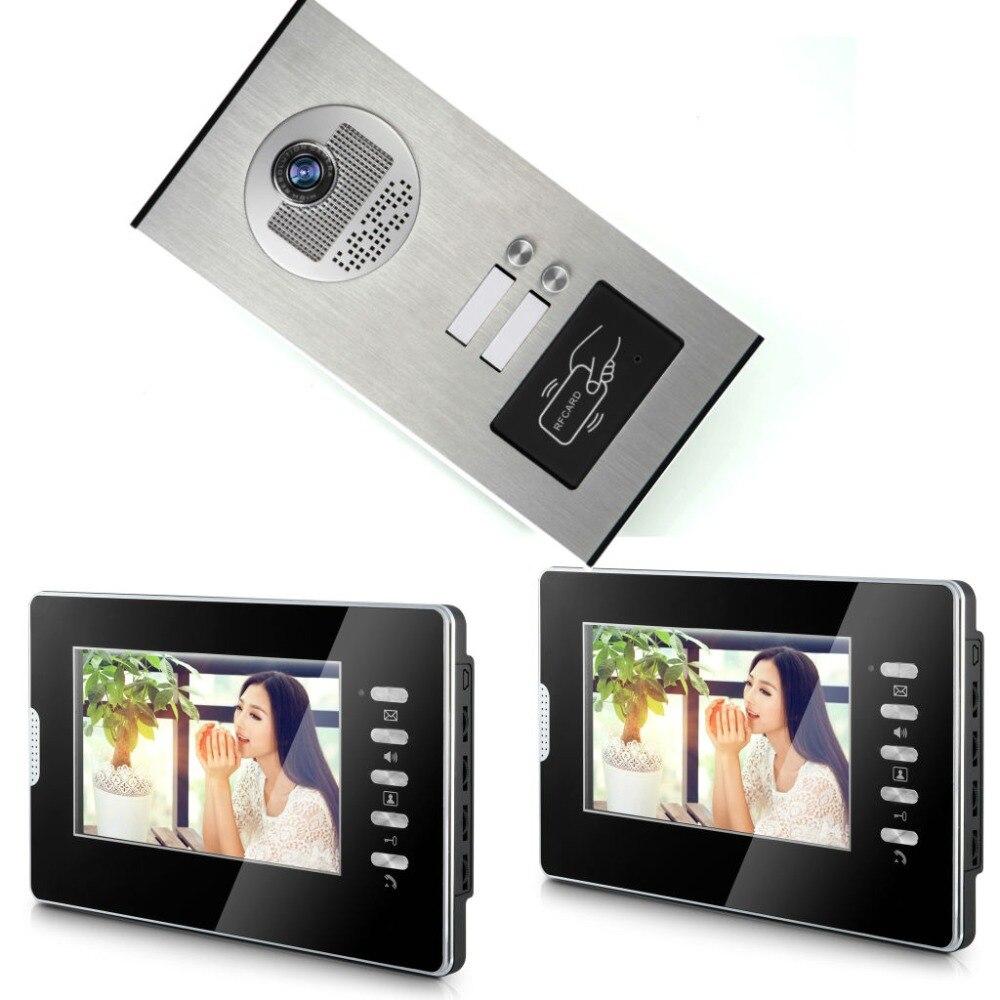 YobangSecurity  2 Unit Apartment 7-Inch Video Video Intercom Home Video Door Phone Doorbell Intercom RfID Access Control System.