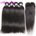 Jet cabelo liso preto brasileiro 7a brasileiras do cabelo virgem retas 4 pacotes com fecho de cabelo liso brasileira com fecho