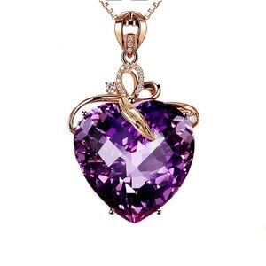 Image 2 - Collar con colgante de amatista en forma de corazón para mujer, collar de oro rosa, joyería, amuleto, joyería fina para fiesta de boda