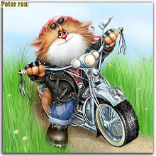 Peter ren Round diamond embroidery Diy painting cross stitch full Diamond drawing living room Driving a motorcycle cat