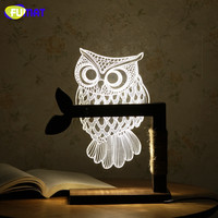 FUMAT 3D Acrylic Owl Lamp Creative Cute OWL Wooden Base Decor Bedside Table Lamp Table Lampara Xmas Gift Brithday
