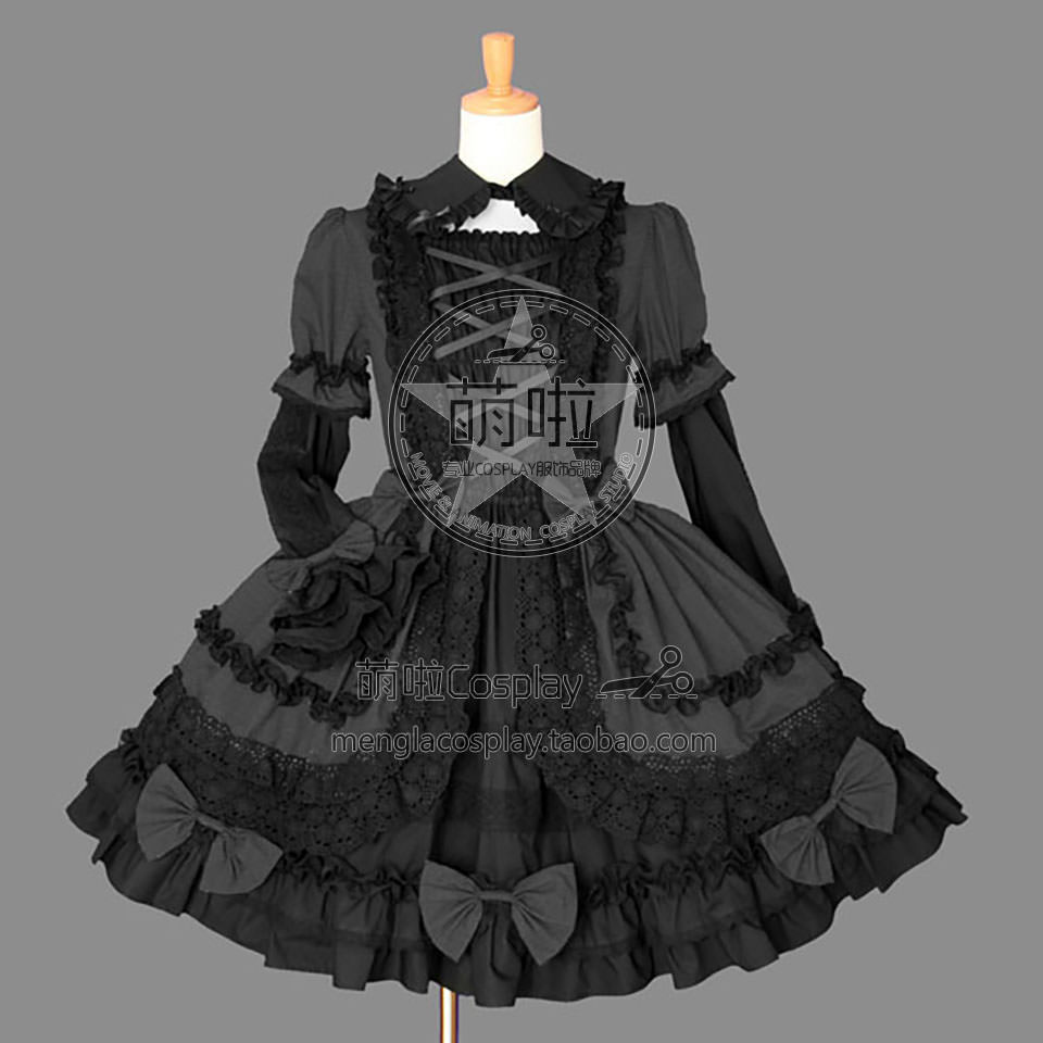 <font><b>Lolita</b></font> Dress Gothic Punk <font><b>Lolita</b></font> Francaise Cosplay Costume With Bowknot Ruffles Sleeves Decorated For Fast Fashion Halloween image