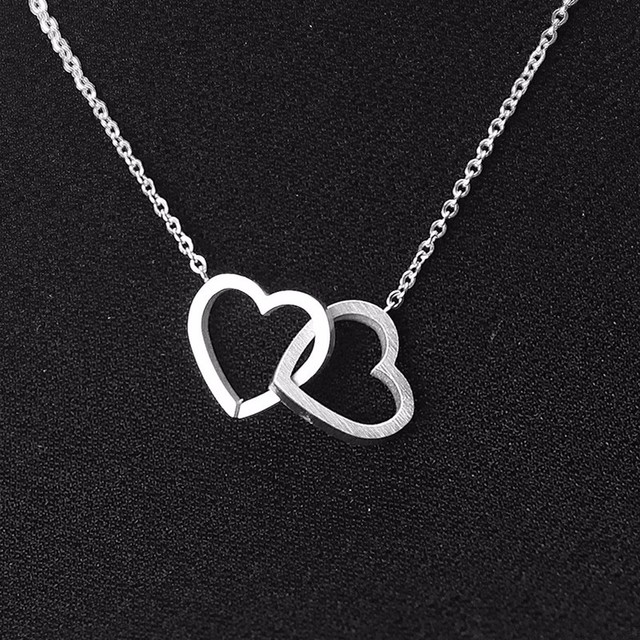 Romantic Gold/Silver Plated Two Hearts Shaped Pendant Necklace