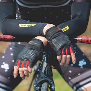 Image 5 - ROCKBROS מגע מסך רכיבה על אופני כפפות סתיו אביב MTB אופני אופניים כפפות ג ל Pad עמיד הלם חצי אצבע כפפות כפפות