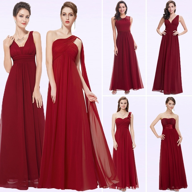 Elegant Burgundy Long Bridesmaid Dresses A Line V-Neck Women Guest Dress For Wedding Party Ever Pretty Plus Size Formal Gowns