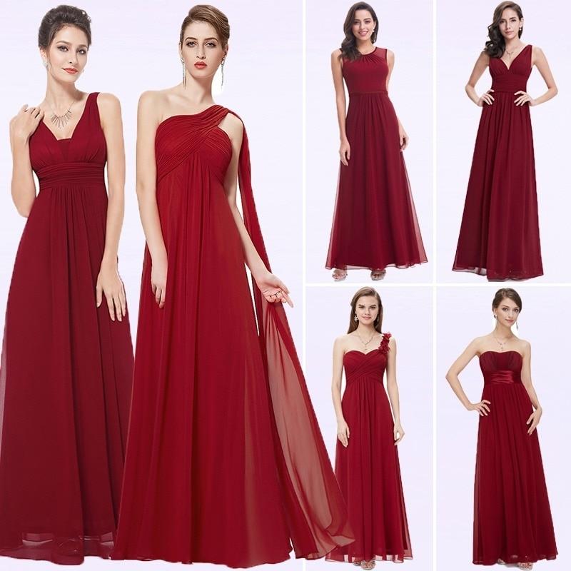 Elegant Burgundy Long Bridesmaid Dresses A Line V-Neck Women Guest Dress For Wedding Party Ever Pretty Plus Size Formal Gowns