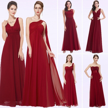 Elegant Burgundy Long Bridesmaid Dresses A Line V Neck Women Guest Dress for Wedding Party Ever Pretty Plus Size Formal Gowns