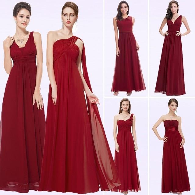 Elegant Burgundy Long Bridesmaid Dresses A Line V Neck Women Guest Dress for Wedding Party Ever Pretty Plus Size Formal Gowns