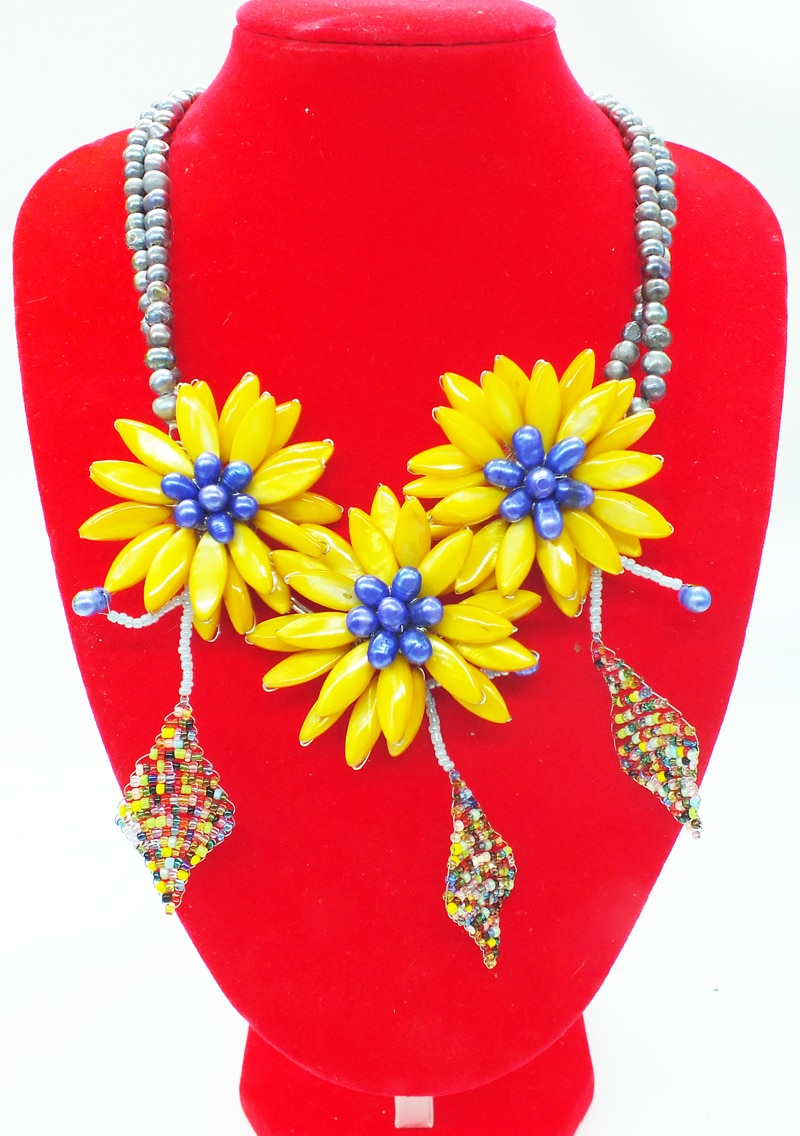 NO-0276-23#  Like, you buy it  ! ! Last necklace  shell.pearl  flower necklace