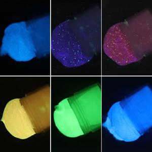 """Image 2 - ניקול יומן Ultrafine זוהר מח""""ש נייל אבקת סט זרחן טבילה גליטר זוהר בחושך הניצוץ ניאון טבעי יבש כרום"""