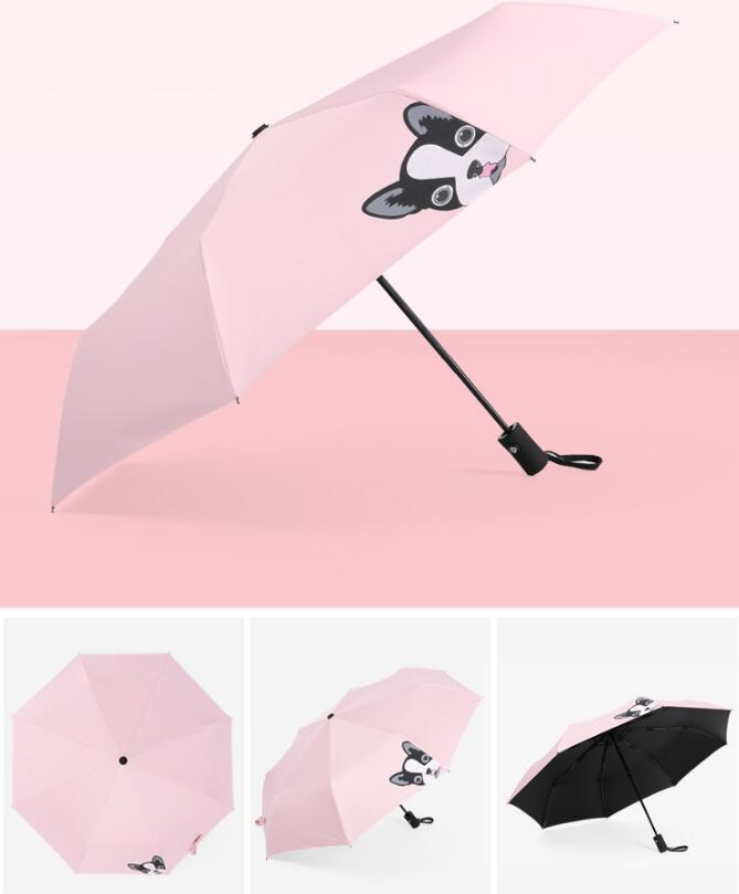 Fully automatic umbrella cartoon students three fold umbrella sunumbrella anti-ultraviolet advertising umbrella free shipping