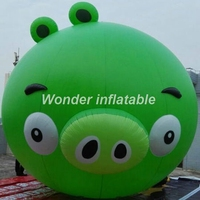 Venda quente personalizado adorável verde cabeça de porco inflável personagens dos desenhos animados promocional para venda