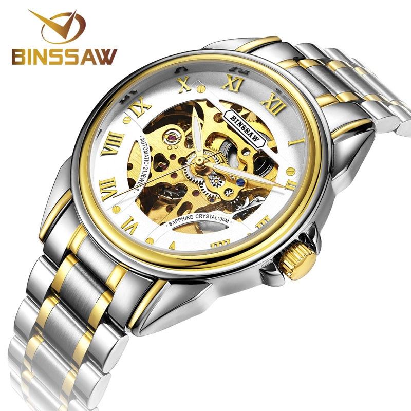 BINSSAW Merk Skeleton Gouden Horloges Heren Mechanisch Polshorloges - Herenhorloges - Foto 3