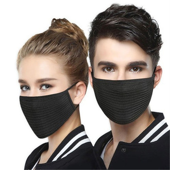 1Pcs Fashion Autumn Winter Warm Mouth Masks For Women Men Unisex Solid Black Fine Wool Windproof  Cycling Outdoor Face Masks