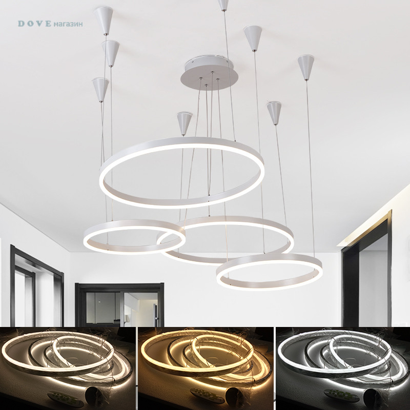 2017 LED DIY Pendant Lights For Living Room Hotel Lobby Pendant Lighting AC110-265V 4 Circle Rings Pendant Lamps Free Shipping oversized living room 36 inch shell lamps rich natural mediterranean flower garden hotel lobby lights pendant lights wwy 0363