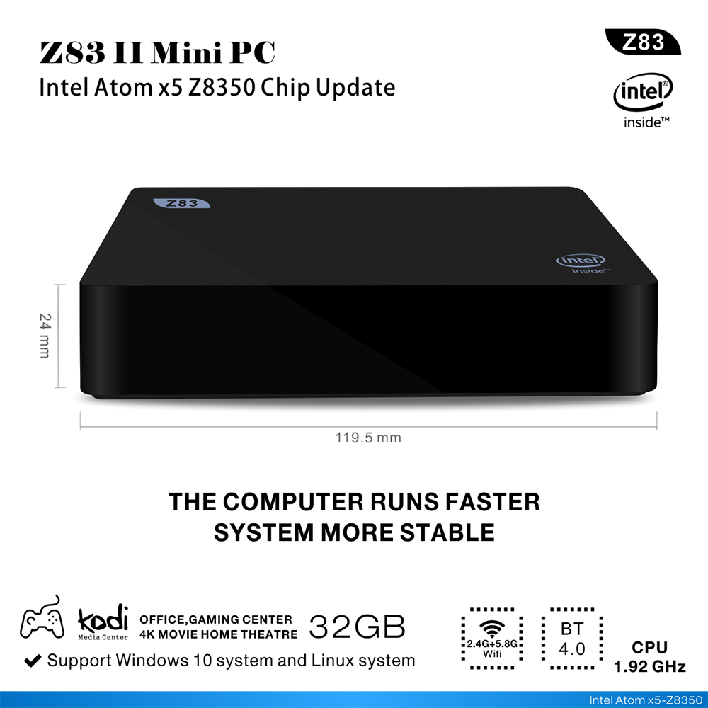 Z83II véritable windows 10 Mini pc baytrail Z8350 TV Box HD affichage 64GB windows10 décodeur lecteur multimédia ordinateur intelligent
