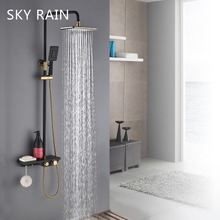 SKY RAIN Antique ABS Plastics 304 SUS Thermostatic Golden Shower Head Set Classic Shower System цены онлайн