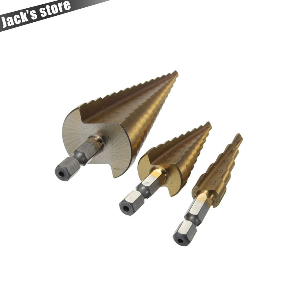 3 Stücke Metric Spiral Flute Schritt HSS Stahl 4241 Kegel Titanium Coated Bohrer Werkzeug Set Lochschneider 4-12/20/32mm