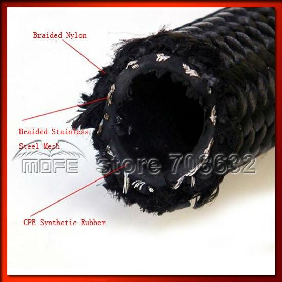 AN10 Ölkühler Verlegung Mit Geflochtenen Nylon Edelstahl Ölleitungen Schwarz - 5