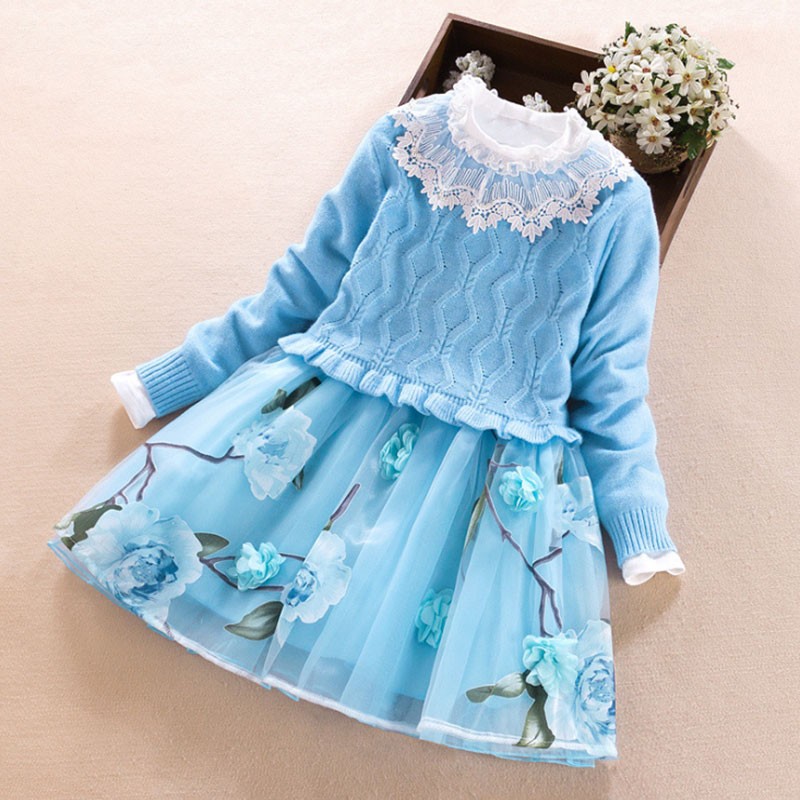 Girls Clothing set Autumn Winter Kids Sweater+Princess Dress 2pcs Suit for girl Party Wedding Dresses Children clothes368 10 11Y