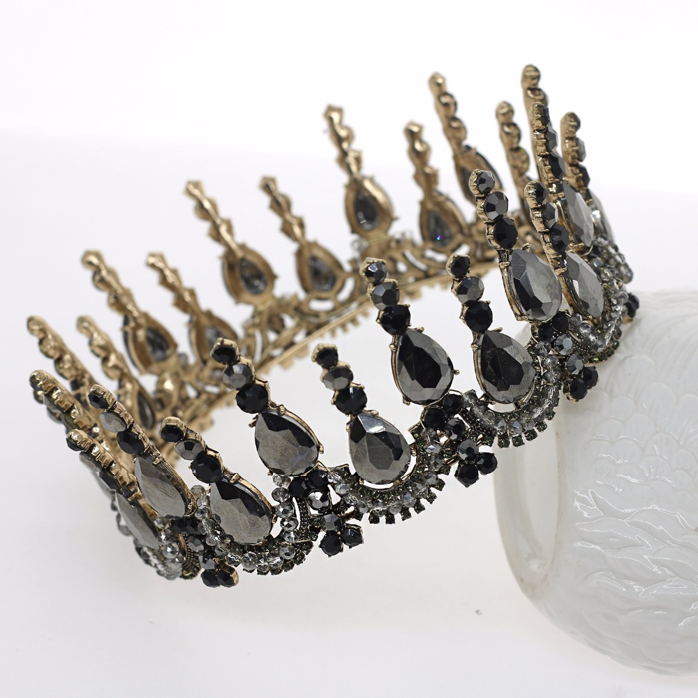 Vintage Baroque Queen King Bride Tiara Crown For Women Headdress Prom Bridal Wedding Tiaras and Crowns Hair Jewelry Accessories free shipping star products feather accessories bridal headdress korean bridal hair accessories wedding tiara vintage singer